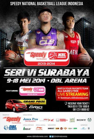 Speedy National Basketball League Indonesia Seri VI Surabaya 9 – 18 mei 2014 At DBL Arena  http://eventsurabaya.net/speedy-national-basketball-league-indonesia-seri-vi-surabaya/