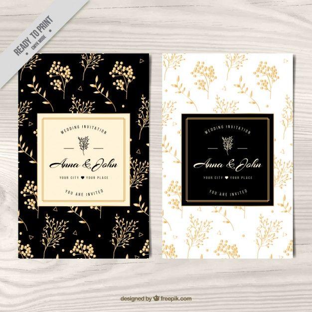 Invitación de boda, floral dorado  Vector Gratis