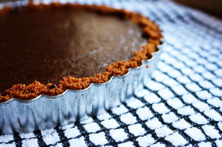 Dark Chocolate Tart with Gingersnap Crust - Hunt and Harvest