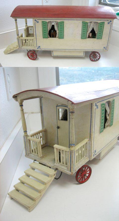 "Antique German Wooden Dollhouse Caravan (19"") by Moritz Gottschalk, 1910~Image © Sondra Krueger Antiques"