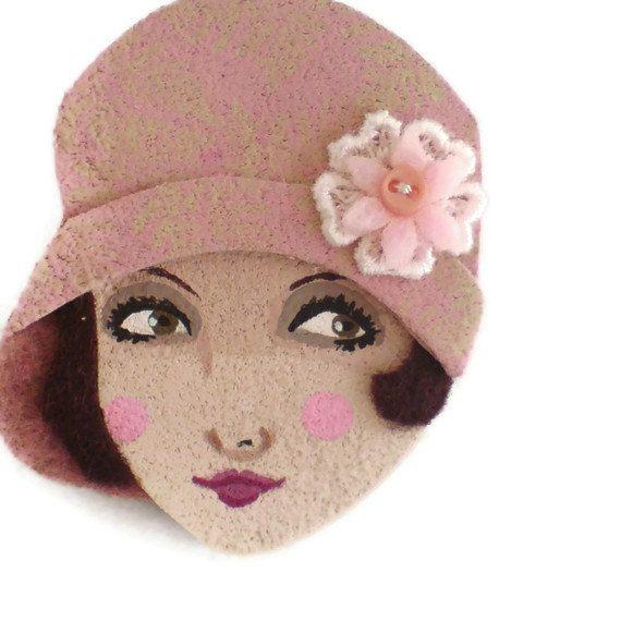 SALE  Pretty 20s Girl Fabric Brooch Felt Brooch Art by yalipaz