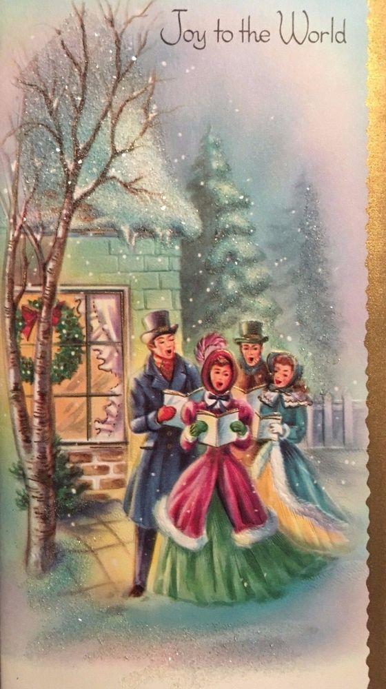 VINTAGE MC USED LOVELY GLITTERED CAROLERS CHRISTMAS CARD