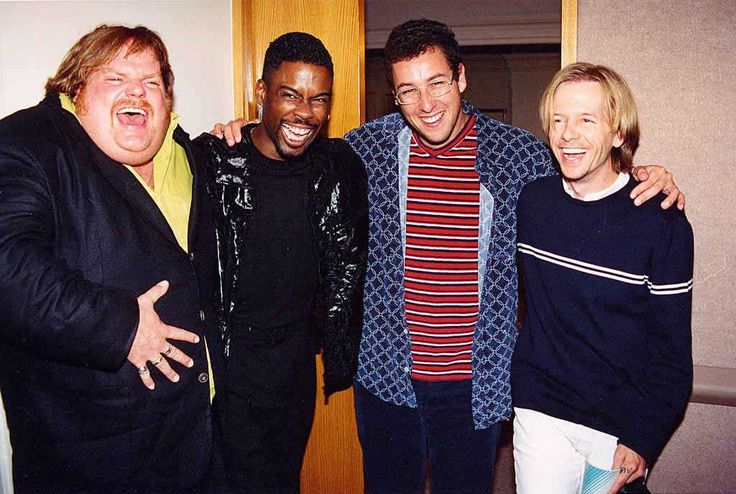 Chris Farley, Chris Rock, Adam Sandler and David Spade at the 1994 MTV Movie Awards