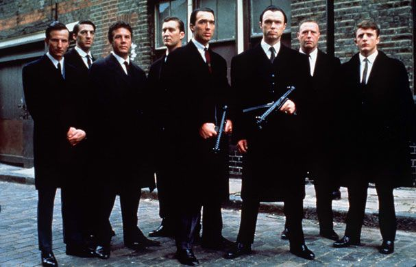 Martin and Gary Kemp as Reggie and Ronnie Kray in 1990s THE KRAYS.
