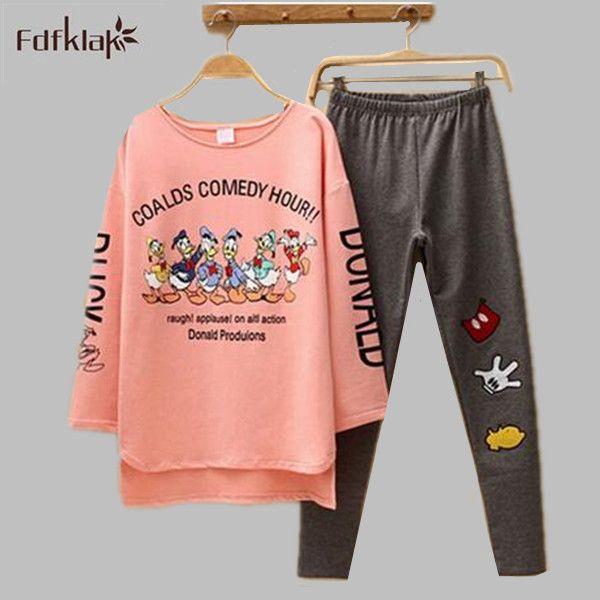 Autumn & Spring Duck Women Pajama Sets Cotton M-2XL Long Sleeve Cute Women's Sleepwear Plus Size pyjama femme pijamas mujer