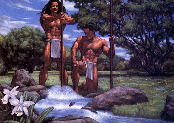 The gods, Kane & Kanalo give birth to life which flows as a spring from the earth (Hawaiian legend)