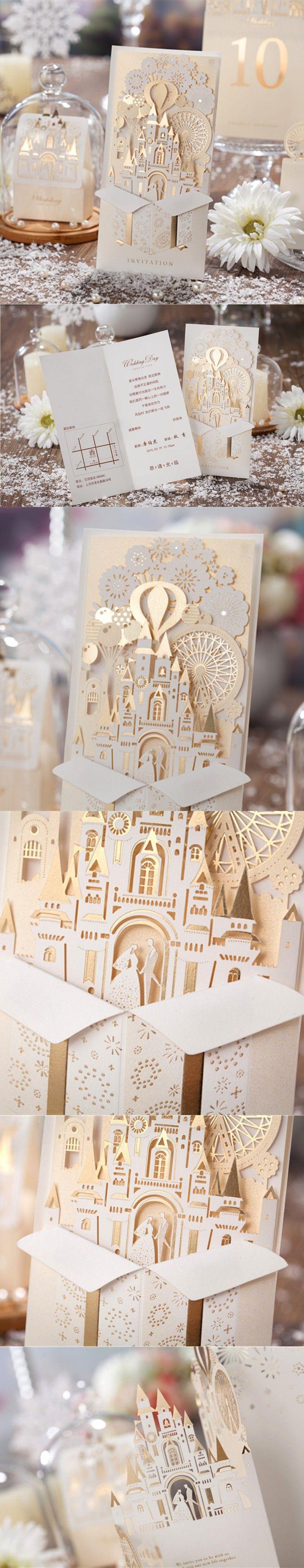 100pcs/lot Laser Cut Wedding Invitations Free Customize Bride and Groom Invitation Cards Castle Wedding Favors Casamento CW5093