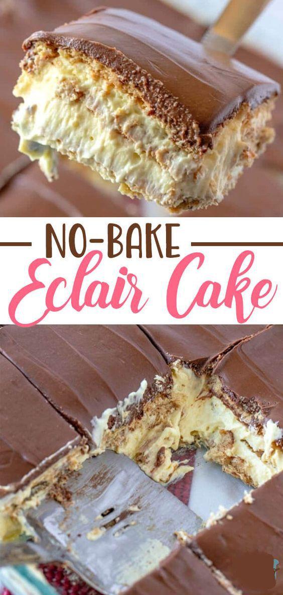 No-Bake Eclair Cake #recipes #desserts #food