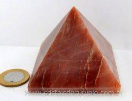 Piramide Aragonita Vermelha Pedra Grande Natural Medidas Baseada em Queops Cod 358.2