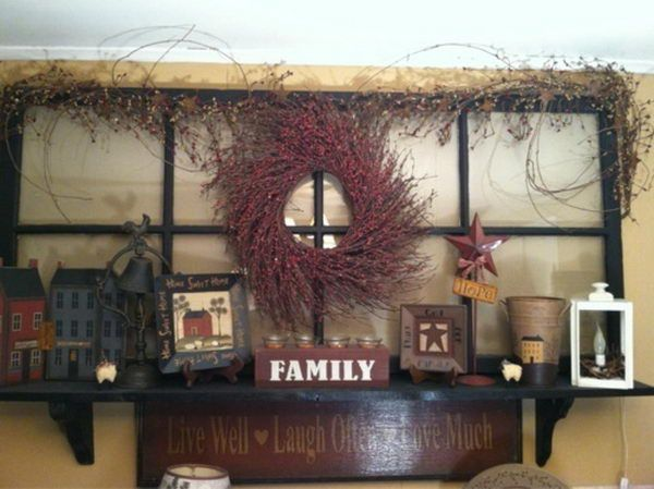 Primitive Country Decoration for Old Window, http://hative.com/best-primitive-decorating-ideas/
