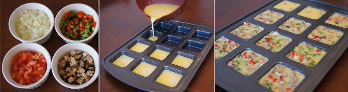 Low-carb mini omeletes: a perfect breakfast idea for diabetics -- these are so cool square, might have to by a neat pan.