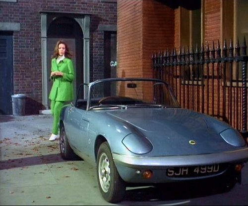 Diana Rigg as Mrs. Emma Peel, and her 1967 Lotus Elân Series 3, in 'The Avengers' 14 April 1967 episode 'Epic'