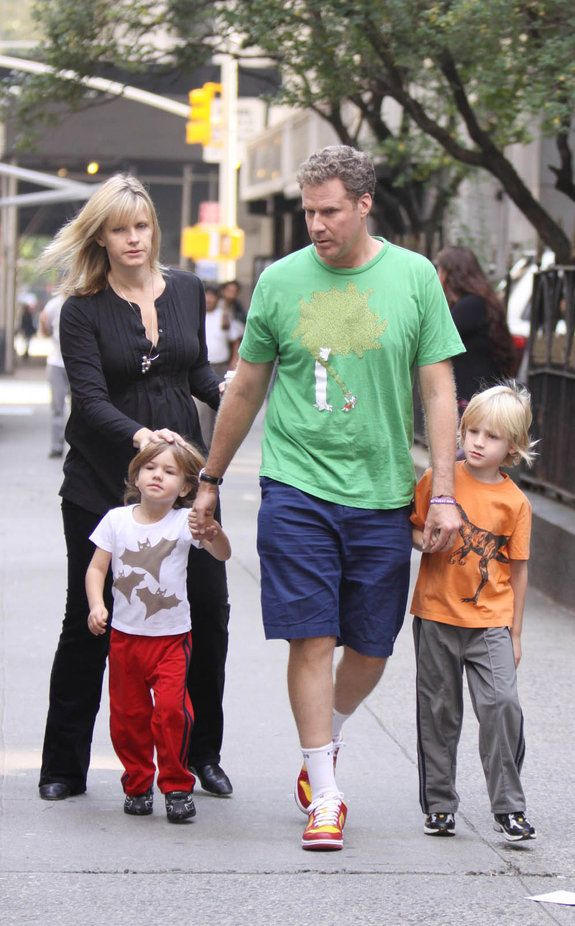 "Will Ferrell gets a visit from his wife, Viveca Paulin, and children at ""The Other Guys"" set"