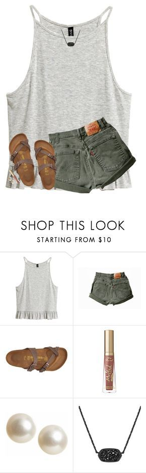 """""""JUST BOUGHT THESE SHOES AND I LOVE THEM"""" by hgw8503 ❤ liked on Polyvore featuring Birkenstock, Banana Republic and Kendra Scott"""