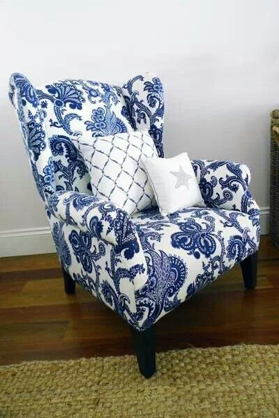 Blue and white wing chair