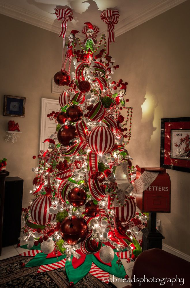 Elf Merriment Christmas Tree featuring decor from Raz Imports