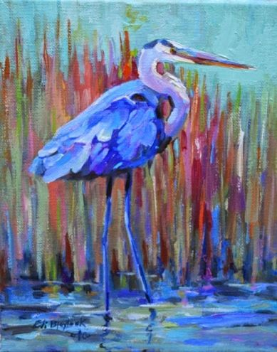 BLUE HERON ON THE BON SECOUR RIVER, painting by artist Elizabeth Blaylock