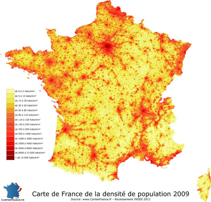 Carte de France de la densité de population communale 2009 - Données du recensement INSEE 2011