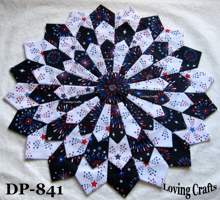 "One Patriotic Center Piece Dresden Plate Quilt Block 16 1/2"" - #841"