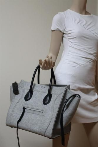 New Celine Phantom Pearl Grey Luggage Wool Leather Medium Tote Bag ...