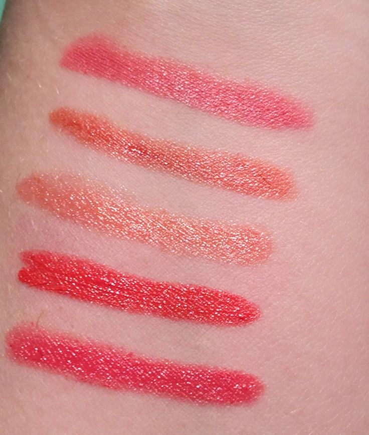 Swatches from Annabelle Cosmetics TwistUp Retractable Lipstick Crayon - Sparkling Corals  http://faestina.blogspot.ca/2013/10/annabelle-cosmetics-twistup-retractable_3798.html