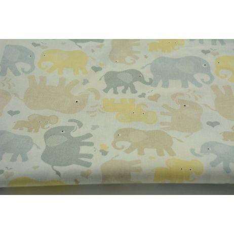 Bawełna 100% szaro, żółto bezowe słonie na białym tle
