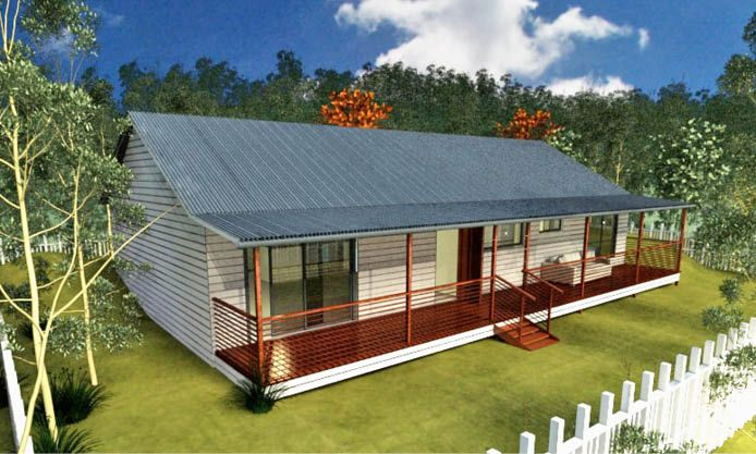 Settler's Retreat: A three bedroom family house, with a classic verandah, plenty of bathroom facilities, open plan living space, and an overall layout designed for the needs of an Australian family.