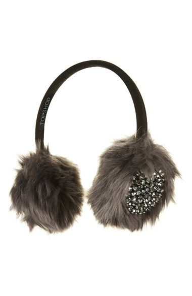 Topshop Embellished Faux Fur Earmuffs available at #Nordstrom