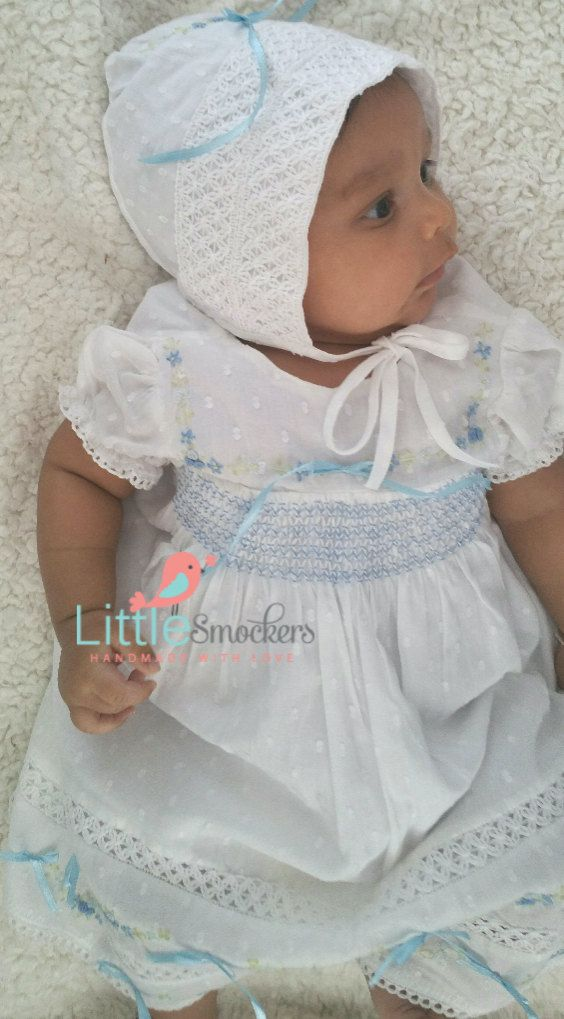Hand Smocked christening dress in white and baby blue - size 0-3 months by LittleSmock on Etsy