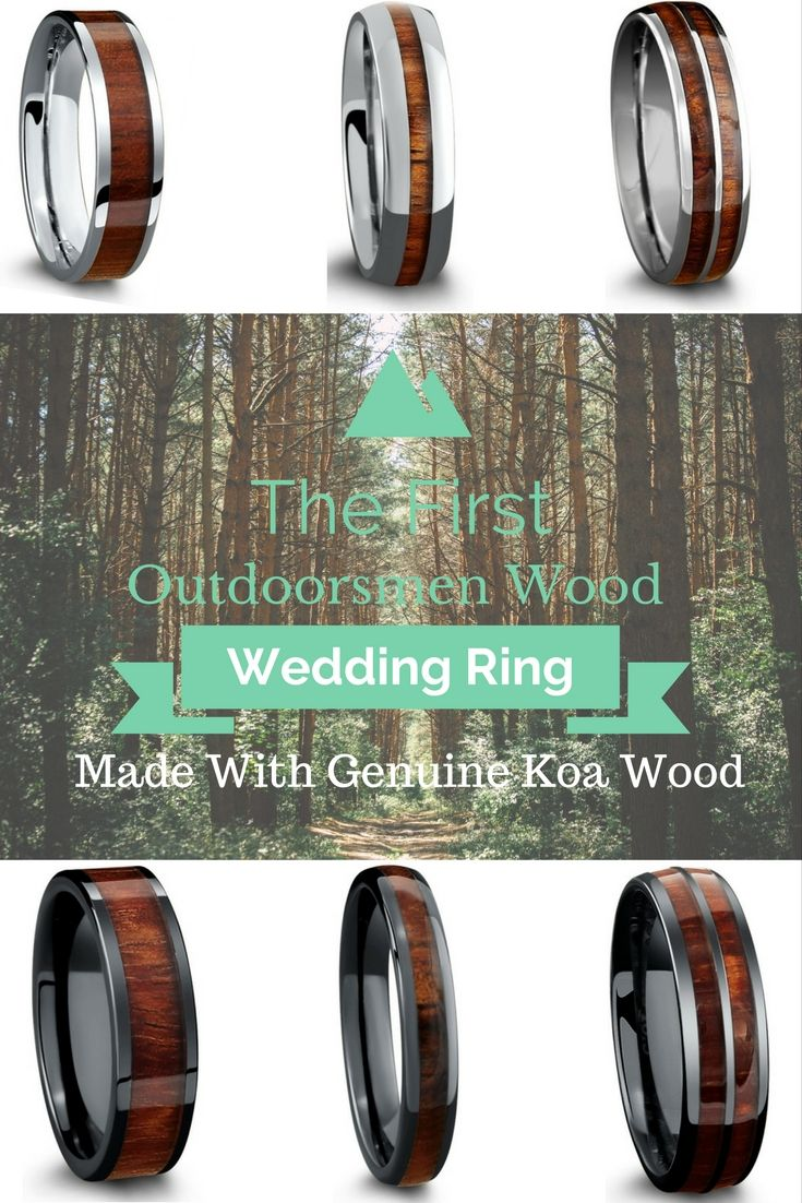 Finally! A mens wedding ring that speaks my future husbands name. These outdoorsmen wood wedding rings are crafted out extremely durable materials and made with 100% genuine koa wood. These outdoor rings are 100% waterproof.
