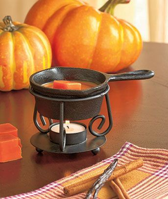 Fry up some fabulous fragrances with the Skillet Wax Tart Warmer. This cute little cast iron skillet looks just like the kitchen essential it's modeled after. P