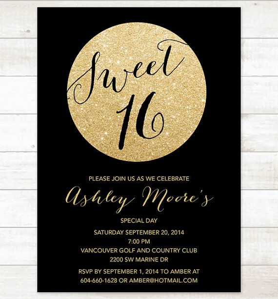 Modern black faux gold glitter sweet 16 invitations sweet 16 black gold sweet 16 birthday invitation sweet sixteen invitation black gold glitter invitation digital invite customizable solutioingenieria Choice Image