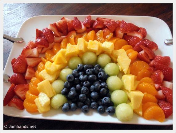 Jam Hands: Rainbow Fruit Tray + Strawberry Fluff Fruit Dip