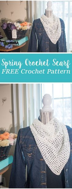 Free crochet pattern. Spring crochet scarf. How to crochet a triangle scarf, with video tutorial.