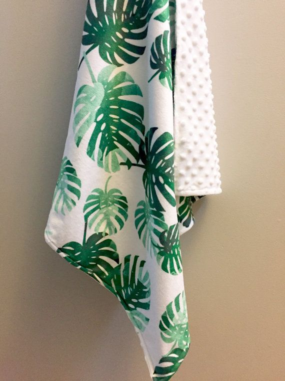 Tropical palms minky baby blanket  emerald green watercolor | tropical nursery | gender neutral baby shower gift | by WilderAndBean