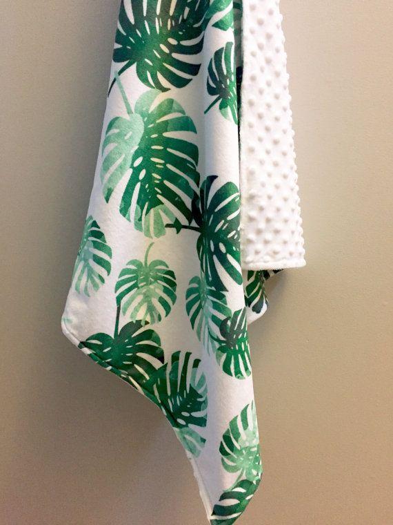 Tropical palms minky baby blanket  emerald green watercolor | tropical nursery | gender neutral baby shower gift | by WilderAndBean