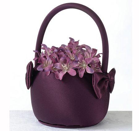 Plum Purple Satin Flower Girl Basket