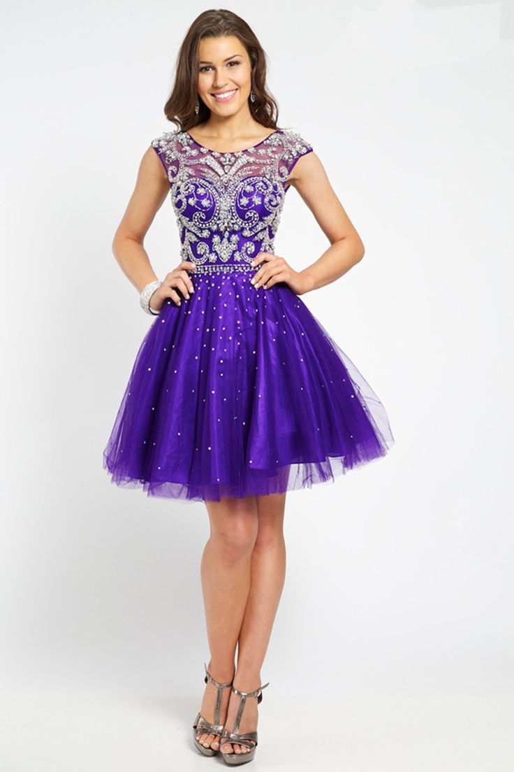2015 Homecoming Dresses A Line Scoop Short/Mini Tulle With Beadings USD 159.99 BFPXTJ4MLC - BlackFridayDresses.com
