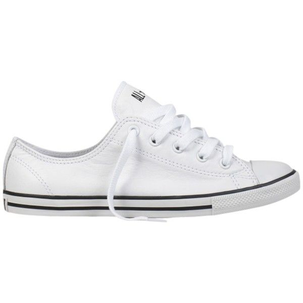 Converse Chuck Taylor All Star Dainty Leather Trainers, White ($86) ❤ liked on Polyvore featuring shoes, sneakers, leather shoes, canvas flat sneakers, leather sneakers, flat sneakers and white trainers