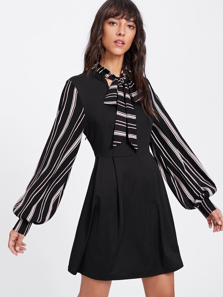 Shop Striped Tie Neck And Bishop Sleeve Pleated Dress online. SheIn offers Striped Tie Neck And Bishop Sleeve Pleated Dress & more to fit your fashionable needs.