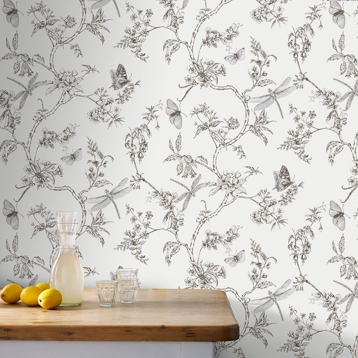 Nature Trail White Mica Wallpaper by Graham and Brown