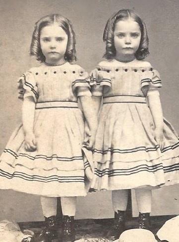 1860's identical Twin Girls Fancy Off Shoulder Dresses Ringlets Hats CDV. So cute!!