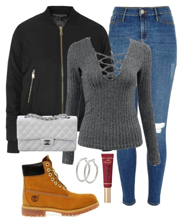 """Timbs"" by amuramasri on Polyvore featuring River Island, Topshop, Timberland, Chanel, Too Faced Cosmetics and M&Co"