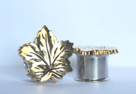 Gold Maple Leaf Plugs 1/2 13mm by arksendeavors on Etsy