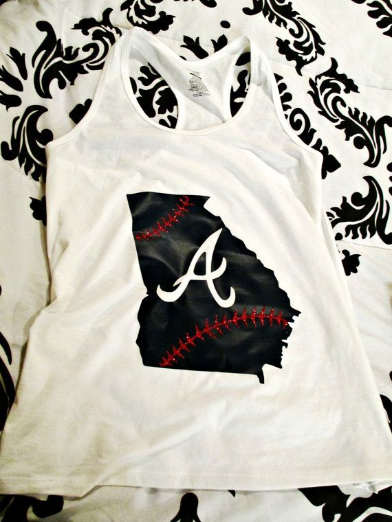 Braves Baseball state tank  Atlanta braves by AmethystOwlBoutique, $22.00