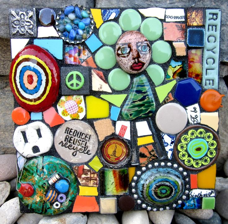 Reduce. Reuse. Recycle. mixed media mosaic by shawn dubois