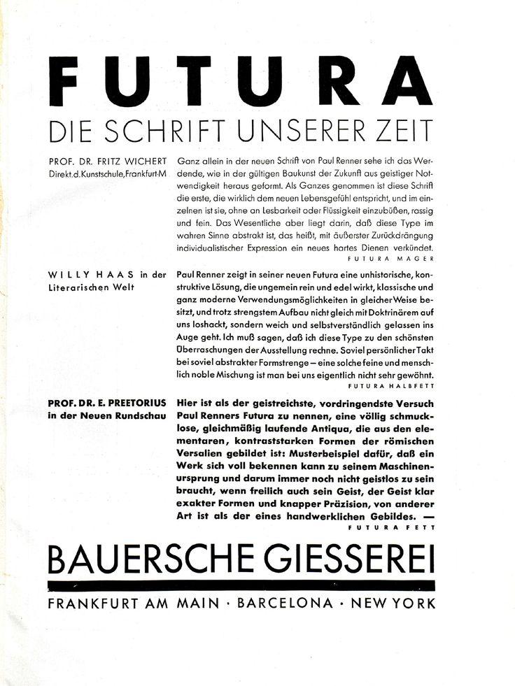 """Futura-Anzeige """"Schrift unserer Zeit"""", Bauersche Giesserei Gebrauchsgraphik, Jhg. 5, Heft 2 (Februar), 1928, S. 1 Gebrauchsgraphik, Jhg. 5, Heft 5 (Mai), 1928, S. 1 Gebrauchsgraphik, Jhg. 5, Heft 11 (November), 1928, S. 1 Gebrauchsgraphik, Jhg. 5, Heft 12 (Dezember), 1928, S. 1 Gebrauchsgraphik, Jhg. 6, Heft 1 (Januar), 1929, S. 5"""
