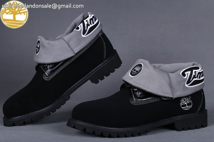 Custom Timberland Roll Top Black Grey Classic Premium Boots For Man $95.99