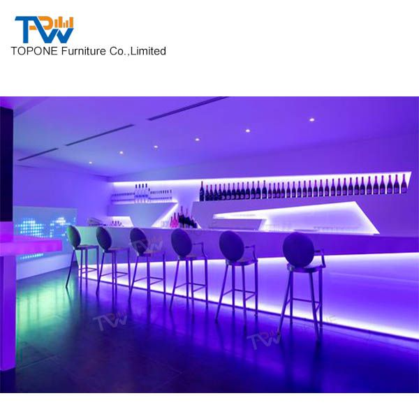 Fashion Design Acrylic Stone Restaurant Fast Food home Illuminated Led Bar Counter