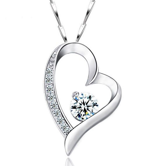 Sterling Silver Zircon Pendant Style 23 Diamond Heart by ATHiNGZ, $8.99